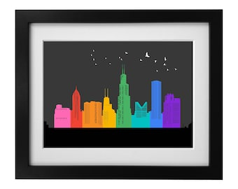 Pride in Chicago Print Ink Painting Print Abstract Art Print Wall Art Living Room Decor Wall Decor Unframed