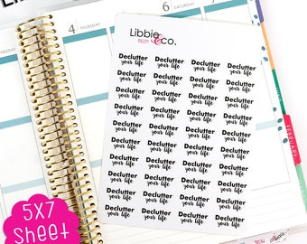 MC154 Black Declutter Your Life Stickers! Perfect for Erin Condren, Happy, Mambi, Plum Paper and Personal Planners!