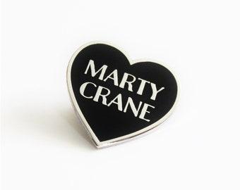 "Marty Crane Black and Silver Heart Pin // TV inspired // 1.25"" hard enamel lapel pin"