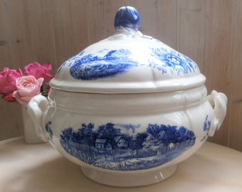 french Tureen / / Sarreguemines / / Blue Transferware a / / antique tureen / / Ironstone / / french Transferware / / ROMANTIC model