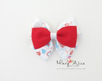 "Layered Hair Bow- Hearts, 3.5"" Girls Hair Bow, Toddler Hair Bow, No Slip Alligator Clip for Baby Girl- Made to Order"