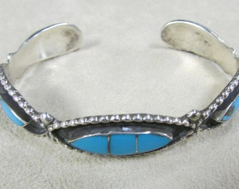 Southwest Sterling Silver and Turquoise Inlay Cuff Bracelet
