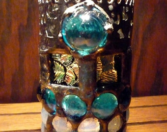 Winter Night Stained Glass Snowflake Gothic Luminaire / Candle Holder  - Christmas