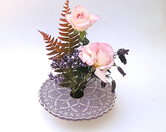 Art Pottery Vase . Kiln Fired Pottery Ikebana . Pin Frog Flower Arranger . lavender