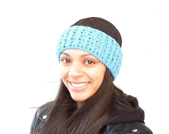 Crochet Headband, Ear Warmer, Adult, Crochet, Aqua, Blue, Women,Teen, Ready To Ship,,