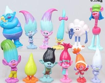 "Trolls Movie 12pc Figure Set PVC Action Figures 1-1/4"" - 2-1/2""  Birthday Cake Topper"