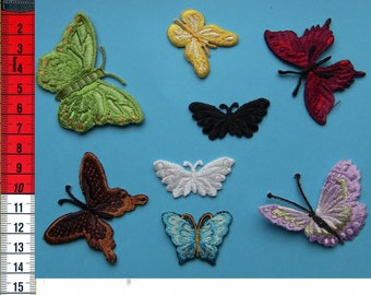 8 badges butterflies assorted iron or sew on Patch Applique