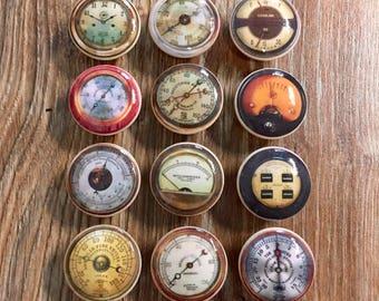 1.5 inch vintage gauges, cabinet knobs, drawer pulls, instrument gauges, cars, tachometer, speedometer, steam gauge, gas gauge, dash gauges