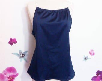 Dark blue stretch satin top, sliding knot braid in white satin