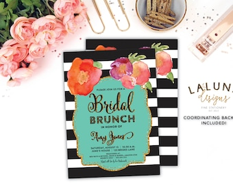 Bridal Shower Invitation, Bridal Brunch Invitation, Printable Bridal Shower Invitation, Bridal Shower Invites, Black & White Stripe