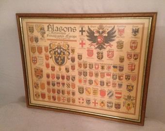 Vintage Crest kingdoms of Europe 1519 DERVEAUX TBE framed