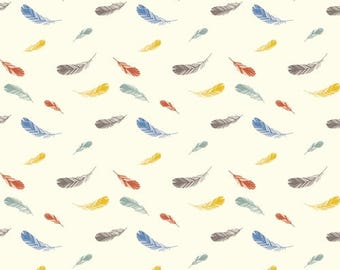 KNIT FABRIC - Feather Print - Birch Organic Cotton Knit Fabric - Feathers Cream Knit - Charley Harper Nurture  Knit Collection