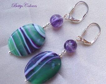 Agate earrings, sterling silver earrings, amethyst earrings, stone earrings, agate, amethyst, sterling silver