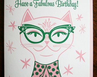 Vintage Cat Eye Letterpress Birthday Card