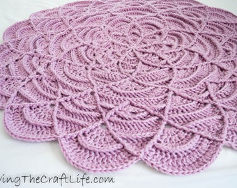 Purple Crochet Round Flower Ripple Blanket - Baby Blanket, Lap Blanket, Decor - READY TO SHIP