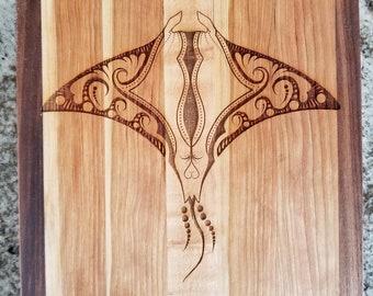 Manta Ray Etched Wood Board/Wall Art