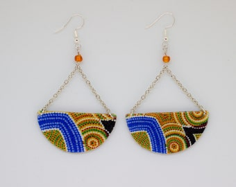 Earrings ethnic circle in blue and orange patterned fabric