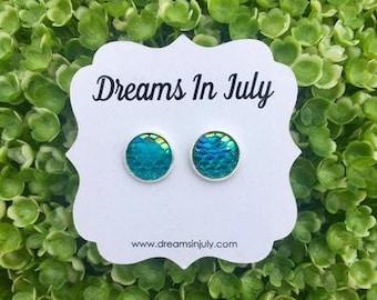 Green Mermaid Scale Earrings, Mermaid Studs,Aqua Green Earrings, Mermaids,12MM, Druzy Earrings, Aqua Green,Dragon Scale Earrings,Studs