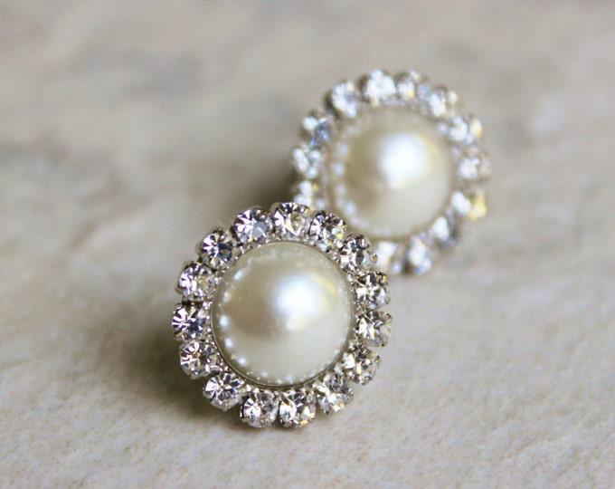 Pearl Earrings, Bridesmaid Earrings, Ivory Pearl Earrings, Wedding Jewelry, Studs, Earrings for Bridesmaids Gift, Silver, Gold, White