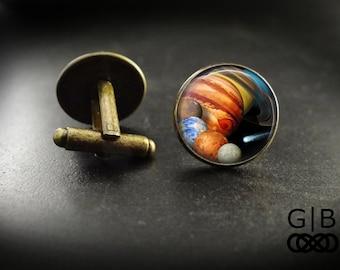 Solar System Cuff Links Suit Accessories - Solar System Cufflinks Planet Accessories - Solar System Planet Cuff Links Suit Accessories