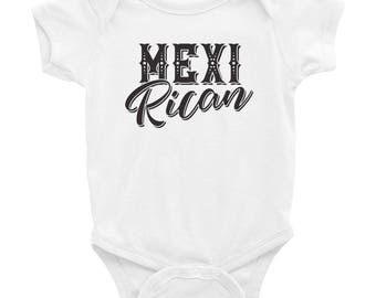 MexiRican Mexican and Puerto Rican Infant Bodysuit - Mexico and Puerto Rico Mexi-Rican Baby Onesie - Multicultural Baby Outfit