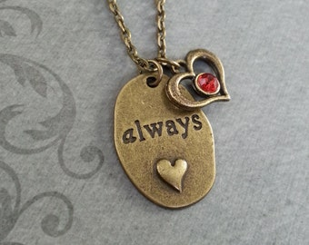 Always Necklace, Always Pendant Necklace, Anniversary Gift, Brass Necklace, Valentine's Day Jewelry, Always Charm Necklace, Red Gem