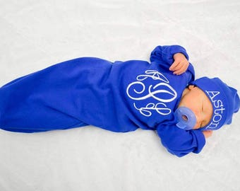 Monogramed layette gift set- Coming Home Outfit-New baby- Newborn pictures-baby shower