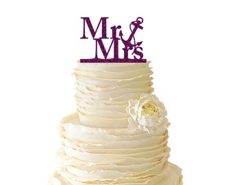 Glitter Nautical Mr. And Mrs. With Nautical Anchor Acrylic Wedding/Special Event Cake Topper - 022