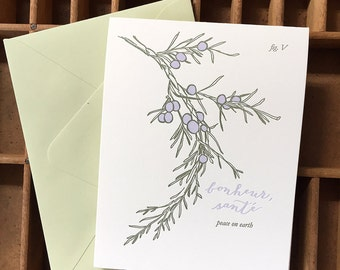 letterpress peace on earth juniper card