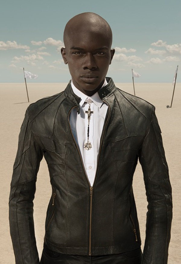 HORNET Men's Leather Jacket Black Lambskin Front
