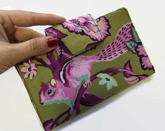 Women's Wallet,Credit card holder, Tula Pink Wallet, Wallet, Purple Wallet
