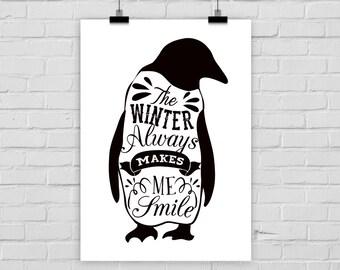 fine-art print WINTER SMILES penguin vintage black white snow