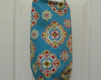 Plastic Bags Holder/Flowers On Turquoise