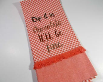 Chocolate lover gift  - Chocolate Towel - 10 dollar gift - Dip it in Chocolate - chocolate - kitchen towel - machine embroidered - Gingham