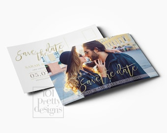 Photo save the date template printable save the date design gold glitter postcard save the date template, golden save the date card