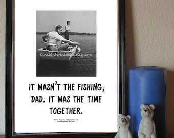 Gift for Dad Fishing Printable Art Wall Art Decor INSTANT DOWNLOAD Digital Father Surrogate Vintage