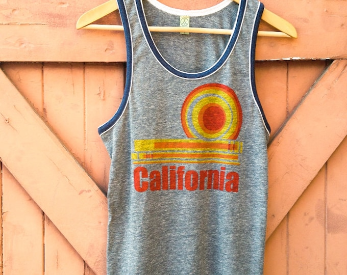 California Dream Retro Ringer Tank in Organic Cotton Blend - Heather Slate & Navy - Women's | Vintage Style Womens Tanks