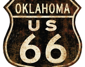 Route 66 Oklahoma Distressed Wall Decal #40918