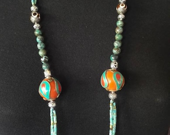 Tibetan turquoise long necklace