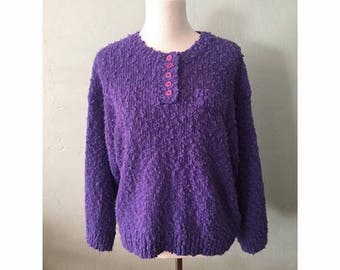 Purple Fuzzy Sweater, Women's Large
