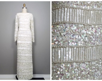 Vintage Pearl Beaded Wedding Dress / Silk Sequined Beaded Gown / Heavily Embellished Iridescent White Wedding Gown