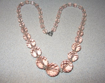 Awesome Pink Glass Necklace Vintage Costume Jewelry #5752