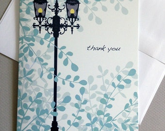 Thank you, Lamp post, Leafs, Thank you card