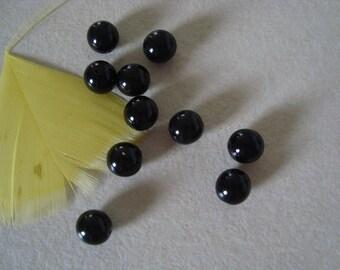 Set of 10 glass pearl beads 8mm diameter black