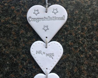 Hanging hearts x 3 mobile Mr & Mrs themed