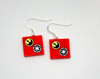 Rebel® & Empire® Insignia Inspired Star Wars® Earrings - Sterling Silver .925 Stamped Backs - Fan Art Crafted From LEGO® Elements