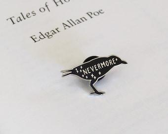 The Raven Enamel Pin - Edgar Allan Poe Enamel Pin Badge  - Gothic Literature Collection - Book Lover - Nevermore - Halloween Pin