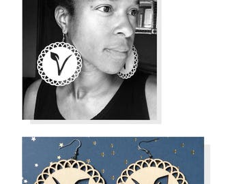 Vegan earrings/Laser cut earrings/WoodenEarrings/