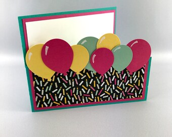 Balloon Birthday Card - Stampin' Up! Hand Stamped Card - Punch Art Birthday Card - Happy Birthday - Celebration - Greeting Card