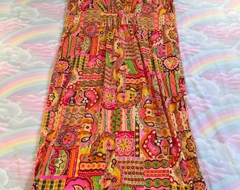 Vintage Psychedelic Paisley Flower Power Neon Barkcloth Maxi Dress Muumuu Caftan Day Glo Op Art 1960s